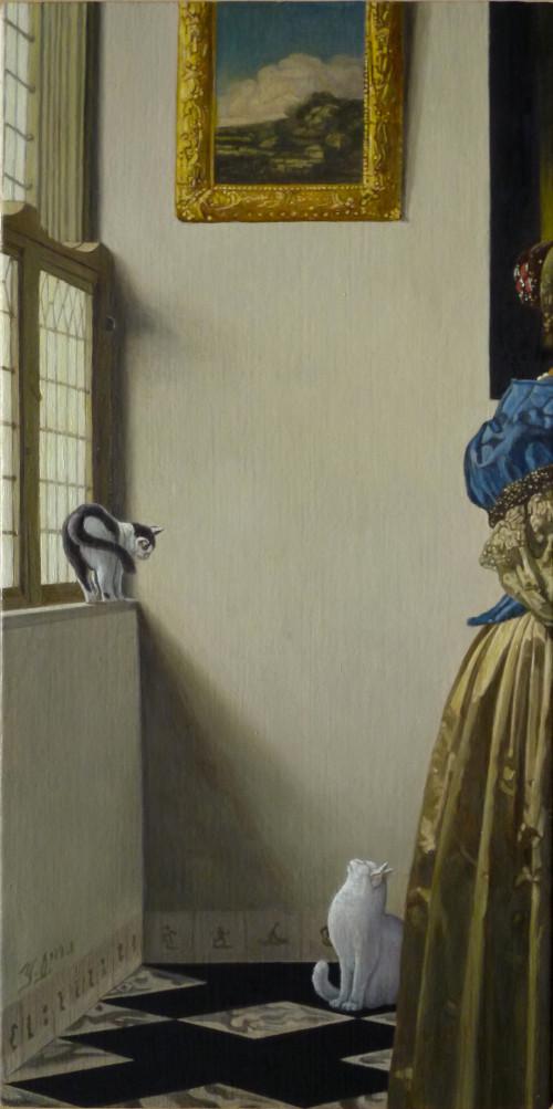 フェルメールの絵に忍び込んだ猫たち・楽器を弾く婦人のいる窓辺