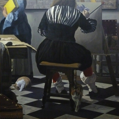 「フェルメールの絵に忍び込んだ猫たち・画室」S100号