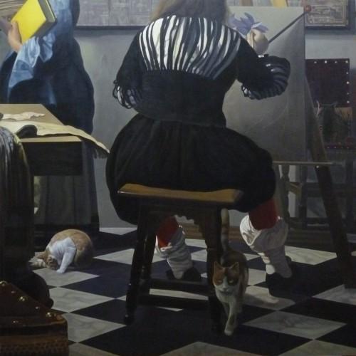 《フェルメールの絵に忍び込んだ猫たち・画室》S100