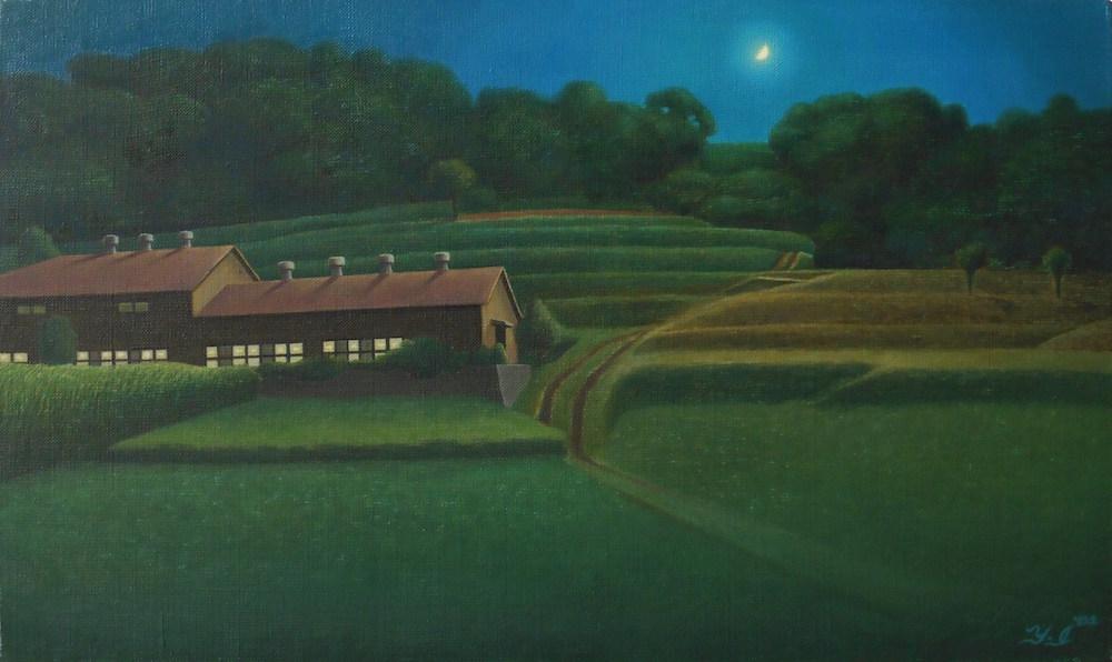《夜の牛舎》